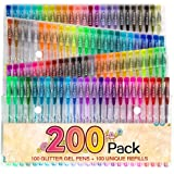 200 Colour Glitter Gel Pen Set, Reaeon 100 Individual Gel Glitter Pens plus 100 Colours Refills, More Ink Largest Non-Toxic Art Neon Pen for Adults Colouring Books Craft Doodling Drawing