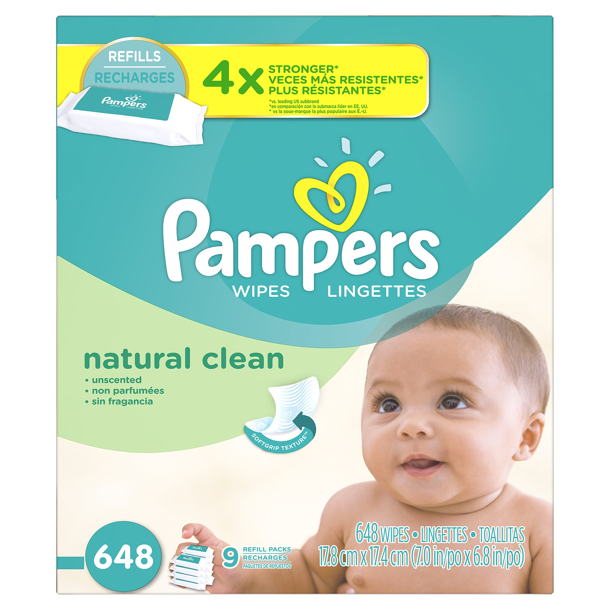 Pampers Natural Clean Unscented Water Baby Wipes 9X Refill Packs, 648 Count
