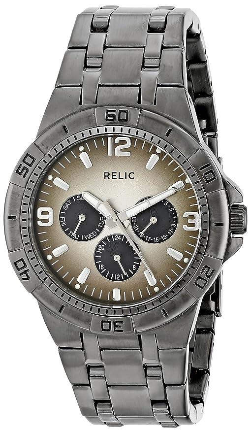 Amazon.com: Relic Menu0027s Garrett Quartz Stainless Steel Dress Watch, Color  Gunmetal (Model: ZR15546): Watches