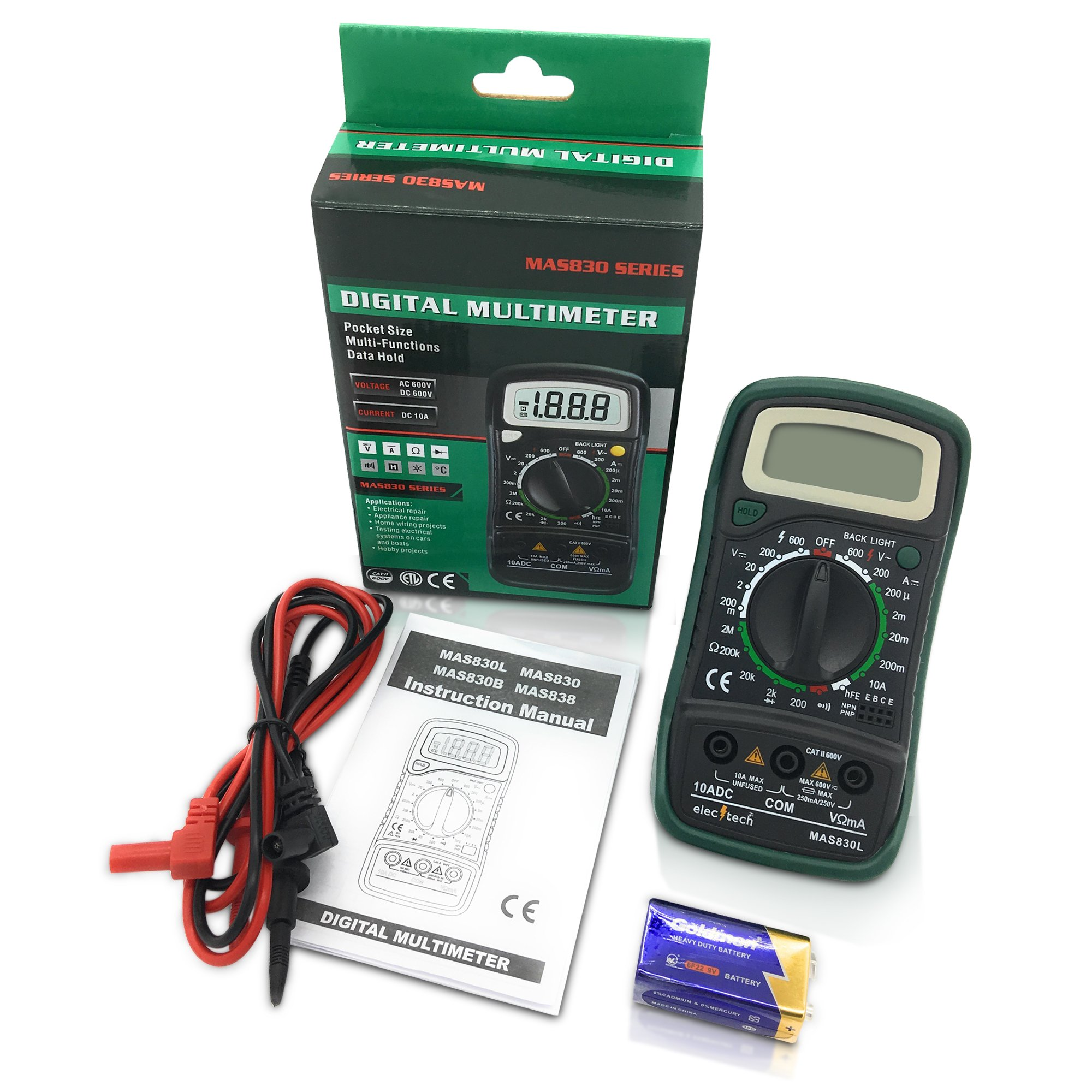 ElecTech Digital Multimeter Backlit LCD Data Hold Digital Ranging Digital Multi Tester Electricity Detector AC DC Voltage Circuit Continuity Tester Best for DIY Home Auto Workshop EBOOK included
