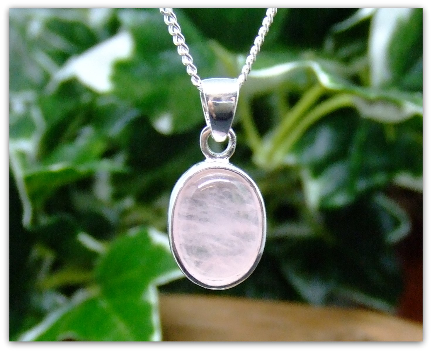 Rose Quartz Silver Pendant Necklace Oval design in .925 silver 18 silver chain Christmas gift birthday gift for her mother gift bridesmaid