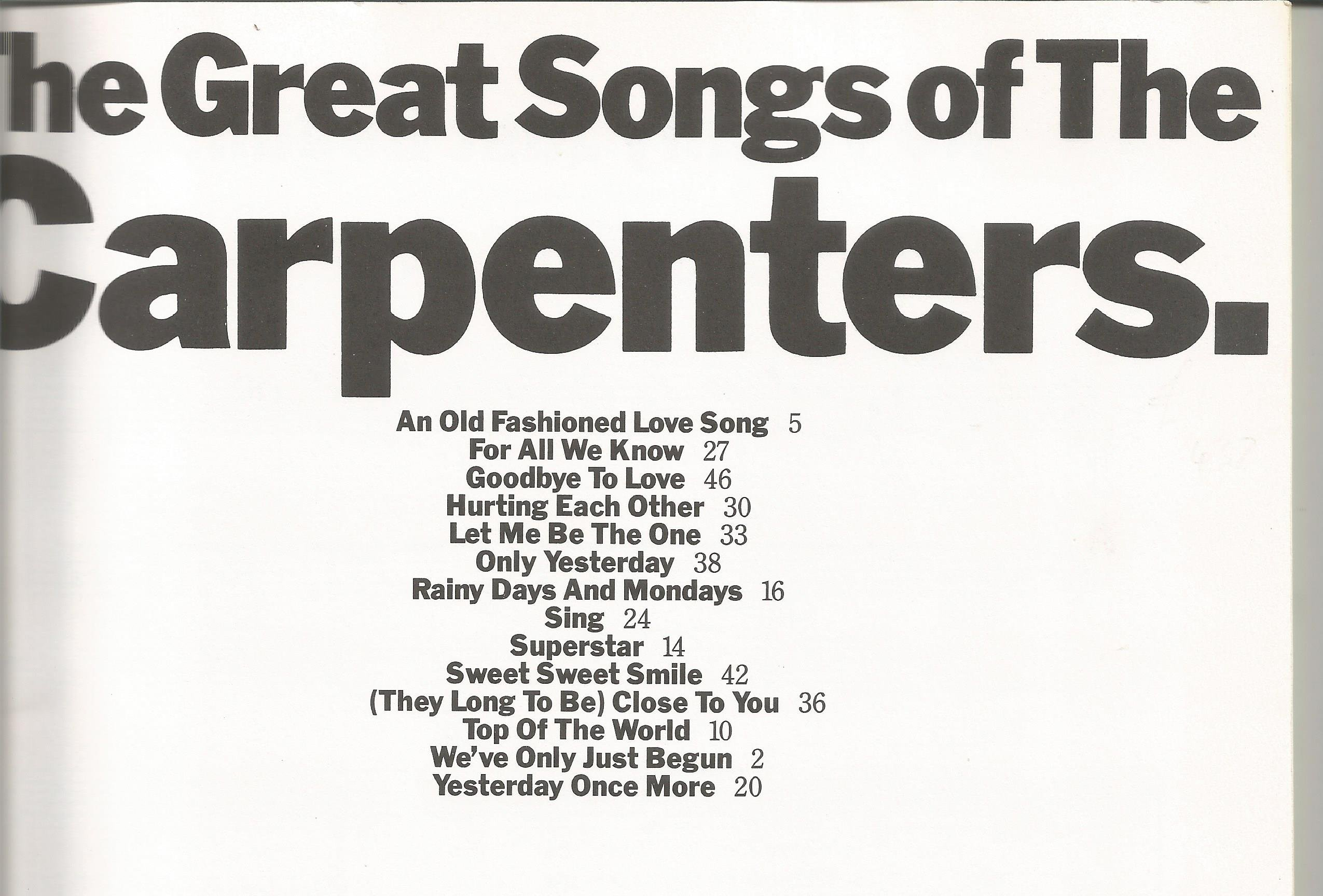 Amazon The Great Songs Of The Carpenters Piano Vocal Guitar