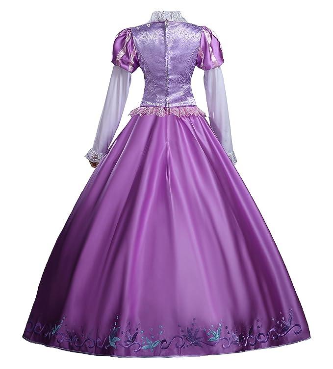 cosrea Disney Rapunzel bordado Morado Satinado adulto de Cosplay ...