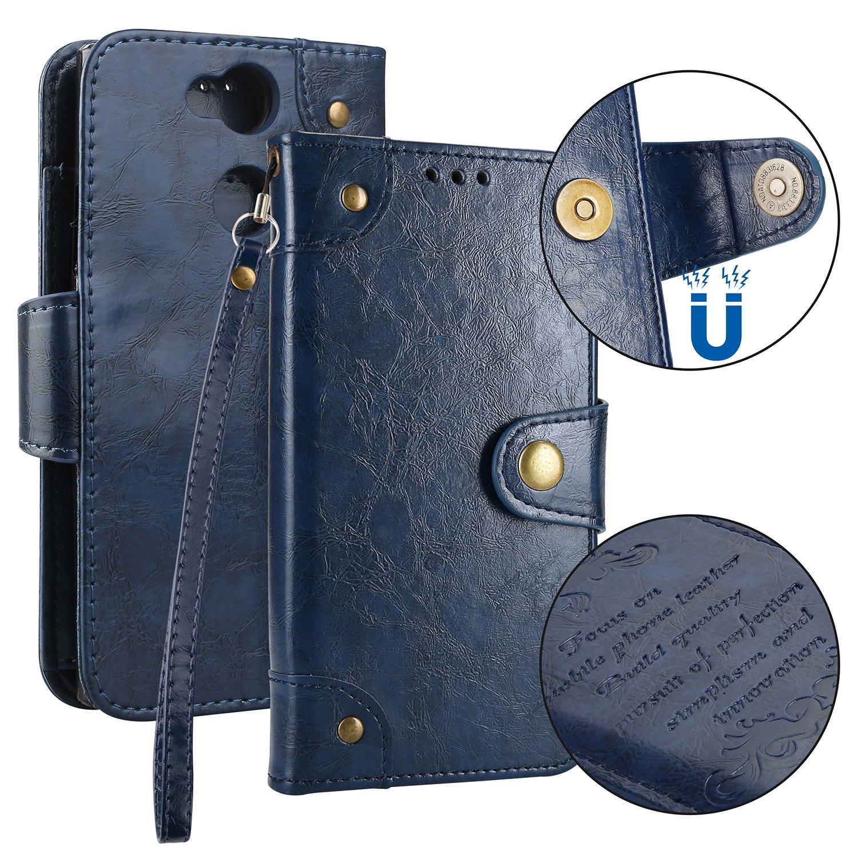 Sony Xperia XA2 Hülle Leder Vintage, Lomogo Schutzhülle Brieftasche mit Kartenfach Klappbar Magnetverschluss Stoßfest Kratzfest Handyhülle Case für Sony Xperia XA2 - LOHHA10487 Rot