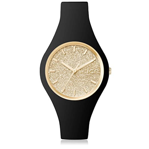 Ice-Watch - ICE glitter Black Gold - Women s wristwatch with silicon strap  - 001355 39f798ad77fd