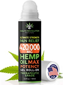 Hemp Pain Relief Roll On Gel, New More Potent Formula for 2020, Faster Acting, Longer Lasting Than Oil or Cream, Arthritis, Muscle, Joint & Back Pains. Acne Treatment. Cooling Topical Analgesic 3.3oz