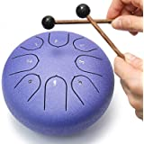 REGIS Alloy Steel Tongue Drum 8 Notes 6 Inches Chakra Tank Drum Steel Percussion Padded Travel Bag and Mallets (Purple)