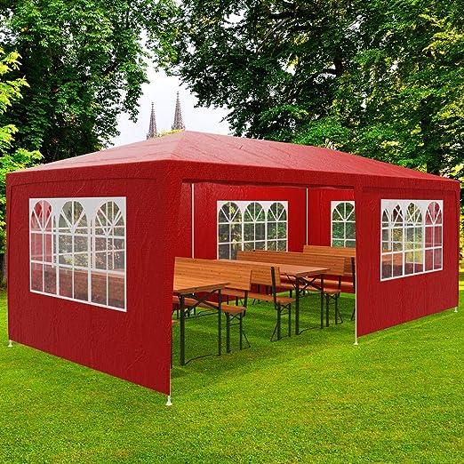 Deuba Pabellon Rimini Rojo cenador 3x6m Carpa Plegable protección UV 50 Resistente al Agua 6 Paredes jardín Eventos: Amazon.es: Jardín