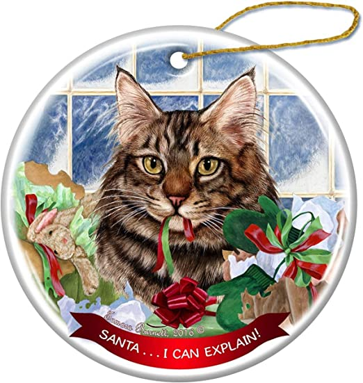 Kitten Cat Playing with Ornament Bulb Tree Presents  Christmas Greeting Card NEW