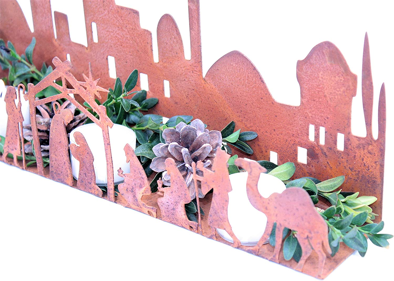 Weihnachtskrippe Weihnachtsdeko Krippenfiguren Krippe mit Figuren Rost Metall Deko Edelrost 330 x 60 mm Rostikal