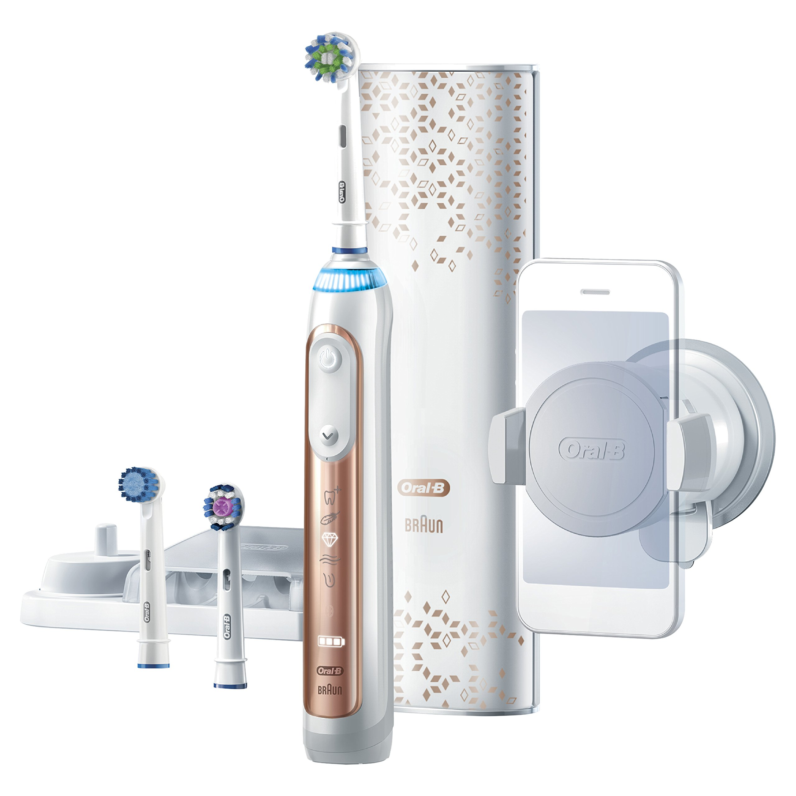Oral B Genius Pro 8000 Electronic Power Rechargeable Battery Electric Toothbrush with Bluetooth Connectivity Powered by Braun, Rose Gold