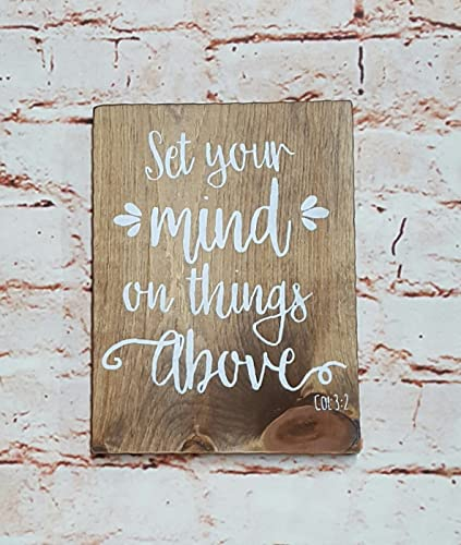 Amazon Com Set Your Mind On Things Above Rustic Wood Sign Bible