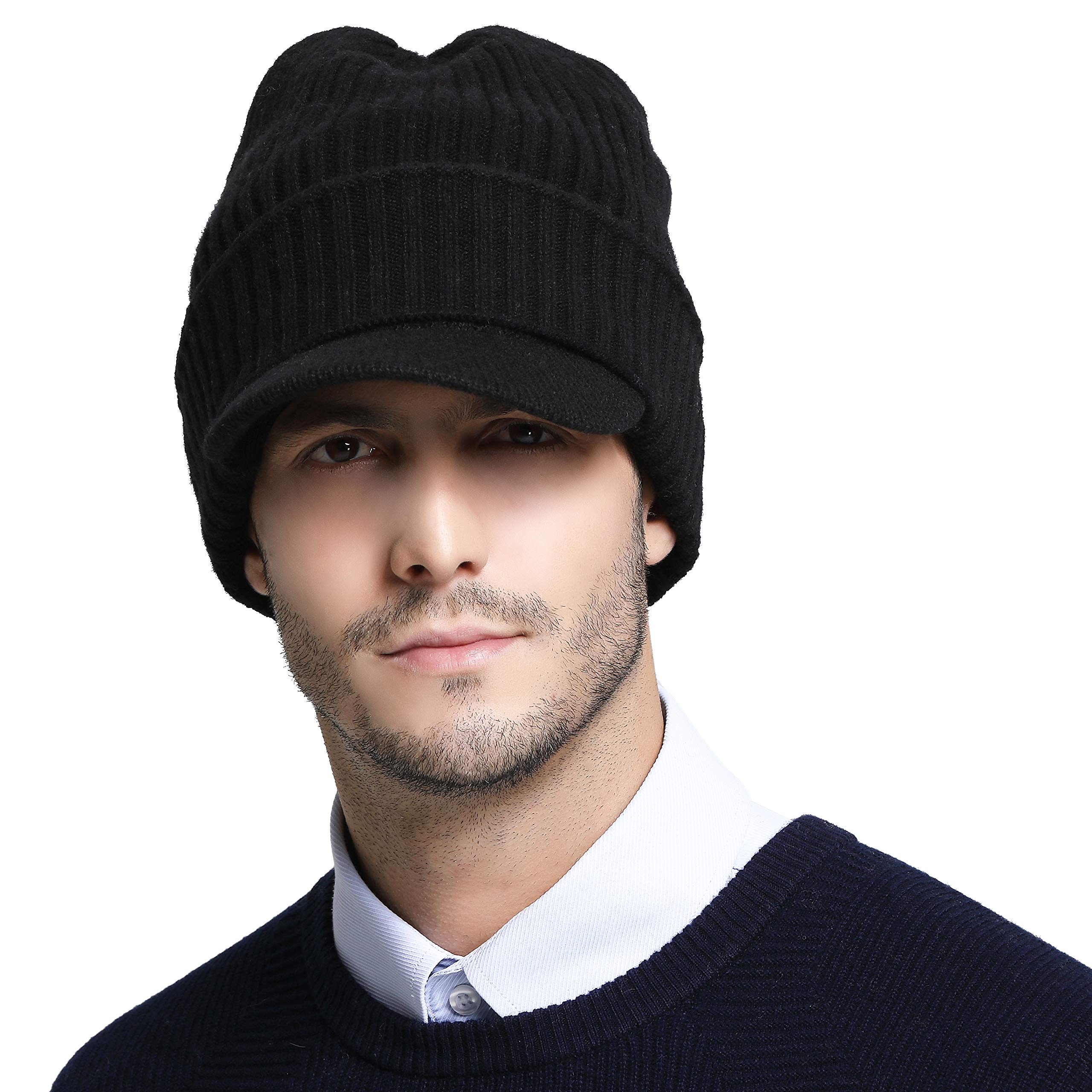 4973ca1403efc8 RIONA Men's Soild 100% Australian Merino Wool Knit Cuffed Visor Beanie Hat  with Visor Warm Skull Caps Headwear (Black)