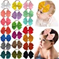 DeD 20 Pieces 4.5 Inch Nylon Super Stretchy Soft Bows Headbands, Newborn Infant Toddler Hairbands, and Baby Girl's Hair Accessories
