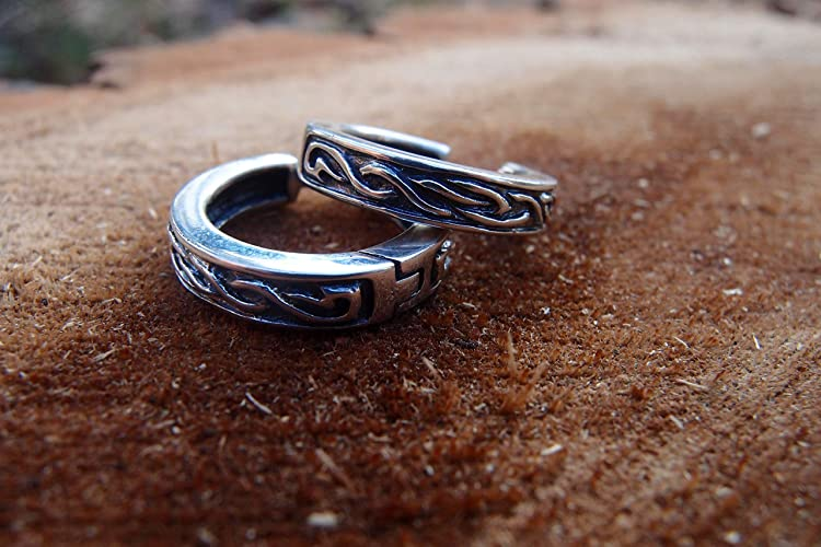 Unisex Pair Of Earrings Celtic Nordic Viking Design 0.8 Inch (20 Mm) Sterling Silver Free Shipping Handcrafted by Amazon