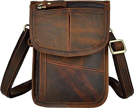 Genuine Leather Men Mini Messenger Bag Cell Phone Case Belt Fanny Waist Pack