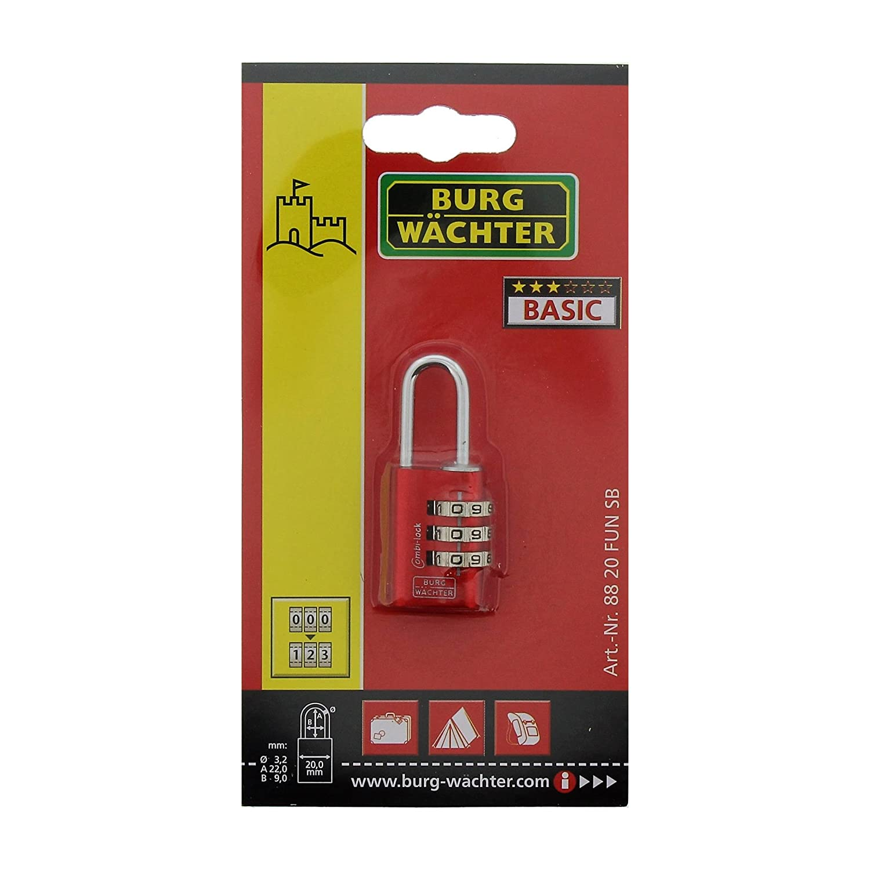 6,5 mm B/ügelst/ärke BURG-W/ÄCHTER Verstellbares Zahlenschloss 4 Zahlenrollen Combi Lock 88 40 Fun SB,Farbe sortiert