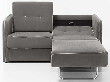 schlafsofa merina grau blau wei mikrofaser stoff sofa couch schlafcouch mit federkern bettfunktion grau - Sofacouch Mit Schlafcouch