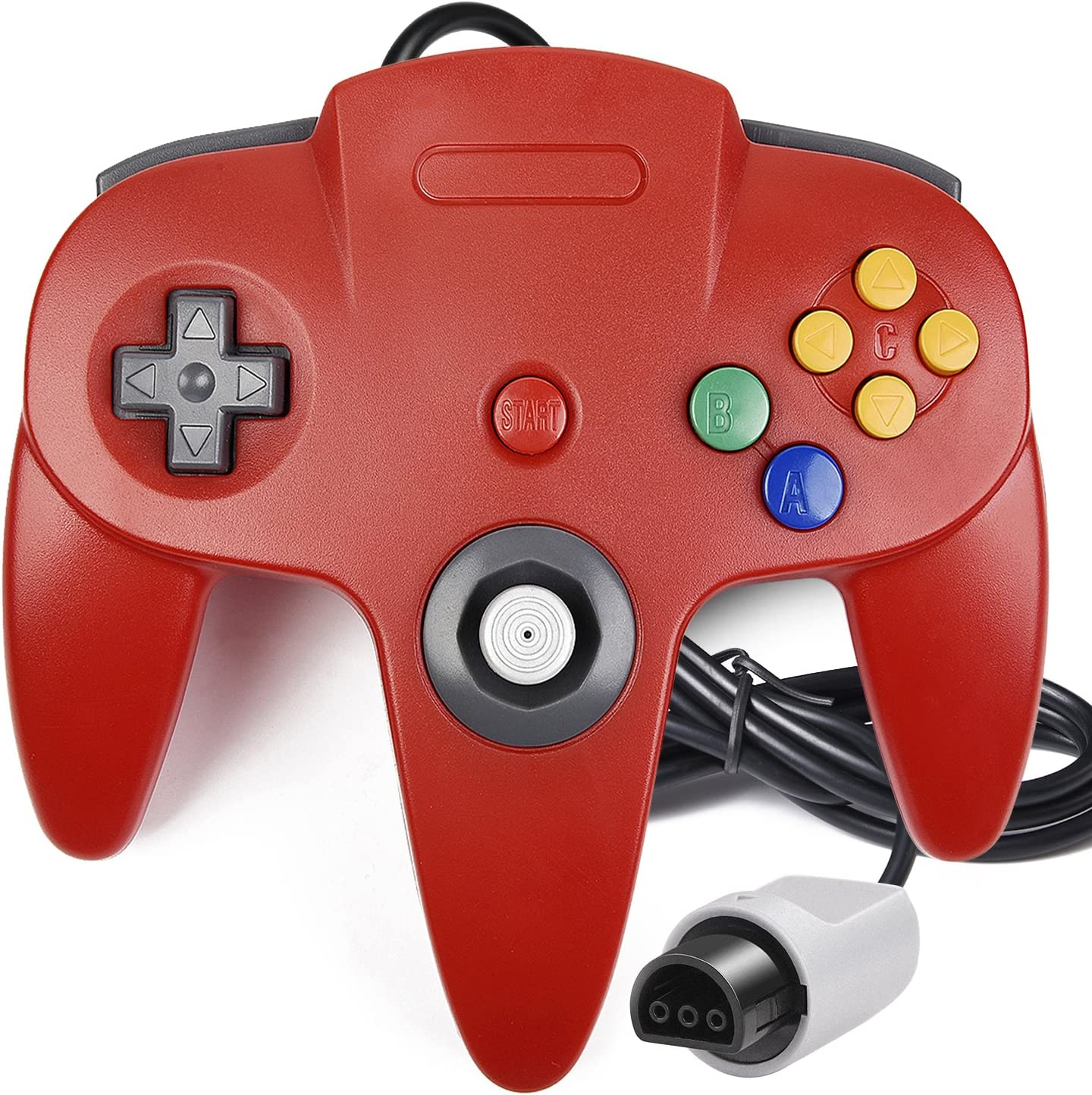 iNNEXT Classic Wired N64 64-bit Gamepad Joystick for Ultra 64 Video Game Console N64 System Mario Kart 2 Pack N64 Controller Red
