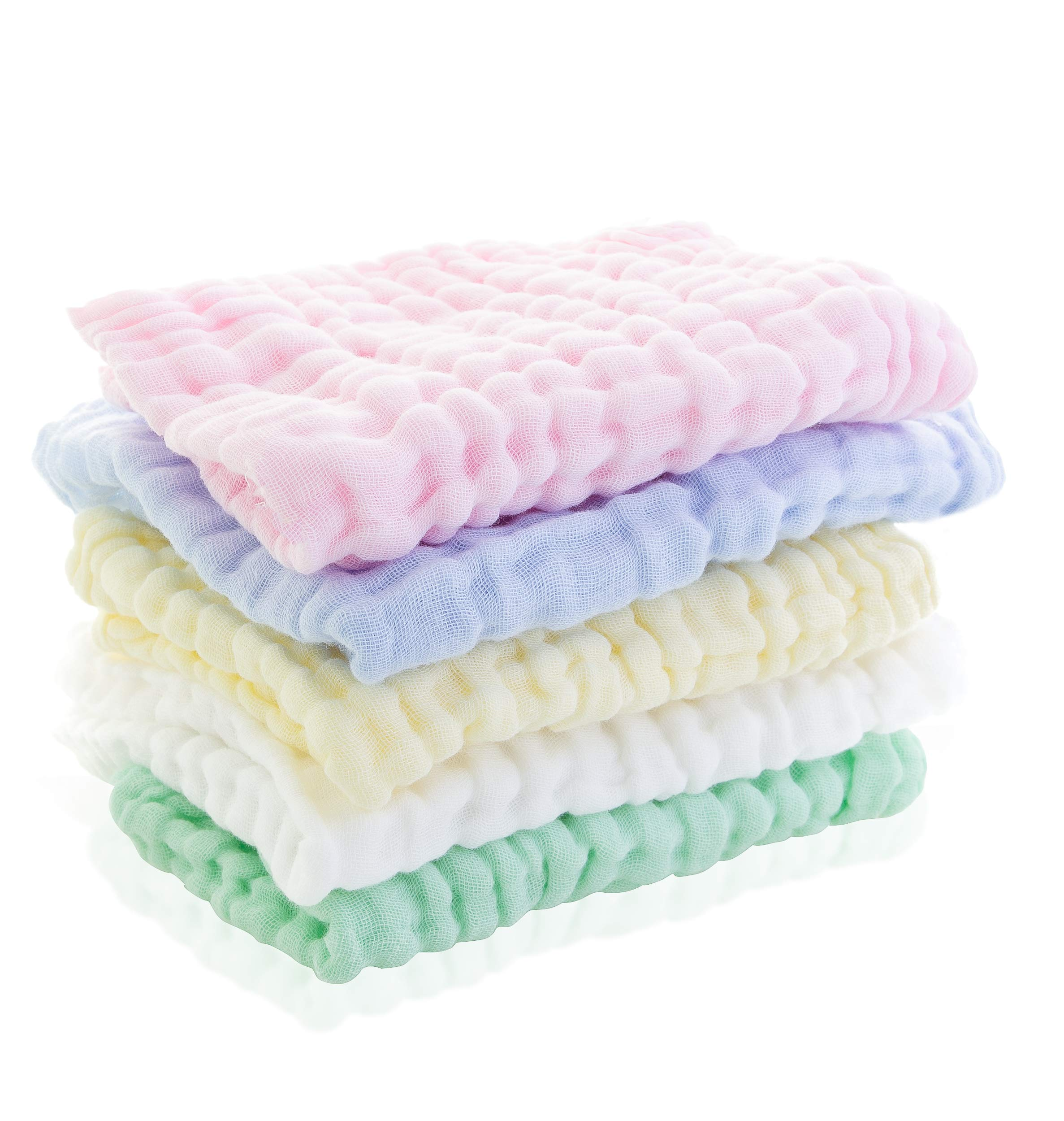 Little Blessings Burpees | 5 Pack Premium Muslin Burp Cloths | 100% Organic Cotton | 6 Layers for Extra Absorbent Strength | Multipurpose: Wipes/Washcloths/Burp Cloths | Great for Newborns |12 x 18in by Little Blessings