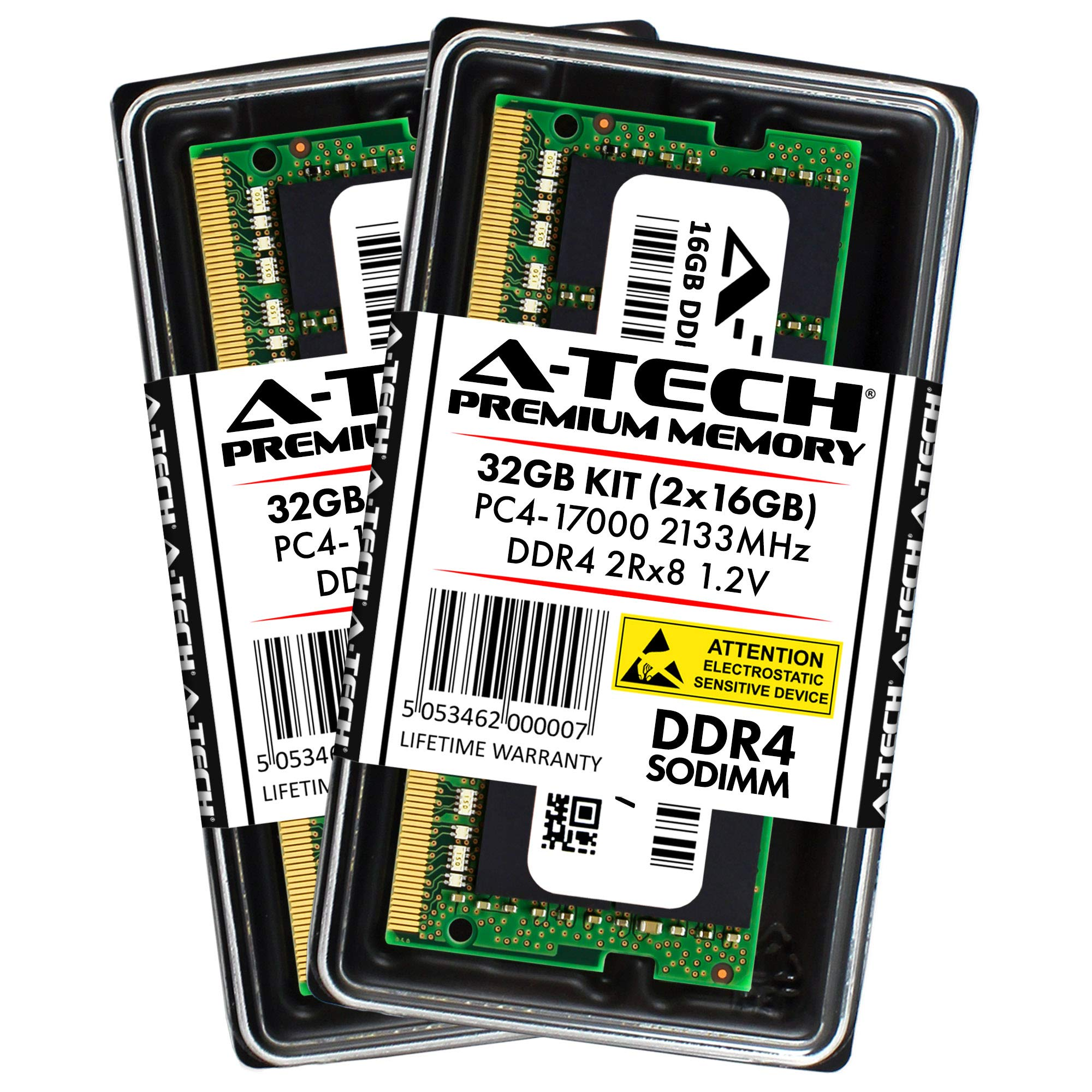Memoria Ram 32GB A-Tech DDR4 2133MHz Kit (2 x 16GB) PC4-17000 Non-ECC Unbuffered SODIMM 260-Pin 2Rx8 1.2V Dual Ra