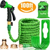 Expandable Garden Water Hose Pipe- 8-Pattern Spray Gun Anti-leakage with Brass Fittings &Hose Hook/ Hanger 100FT Magic-hose pipes by Suplong (Green)