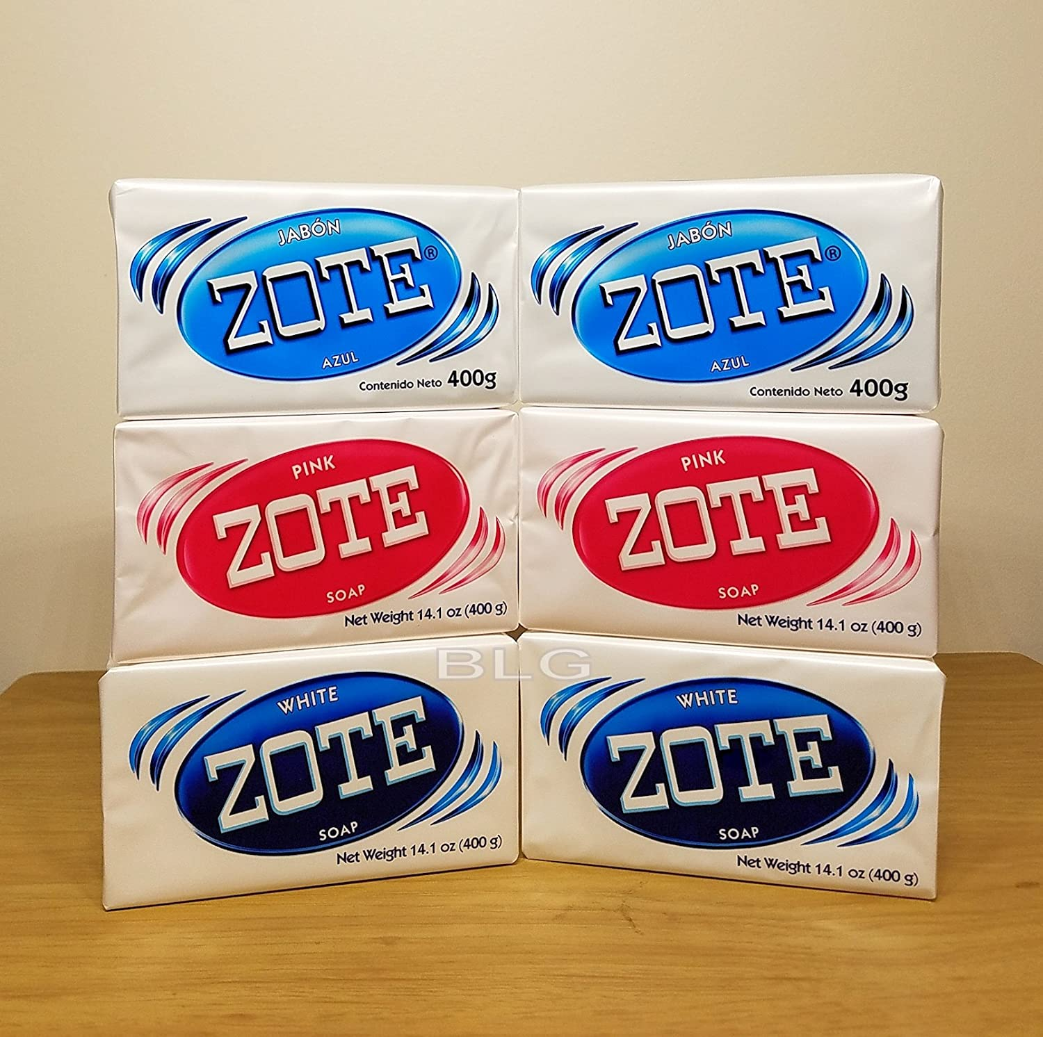 Zote Laundry Soap Bars Combo Pink White Azul 14.1 oz (6 Pack) cleaner washing kitchen jabon home detergent bath house products. 080585090197.