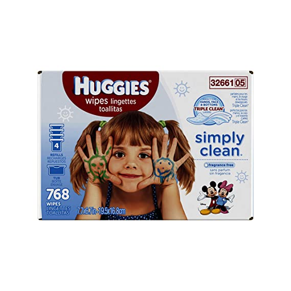 Huggies Simply Clean Baby Wipes, Unscented, Refill, 768 Ct (Packaging May Vary) by Huggies: Amazon.es: Salud y cuidado personal