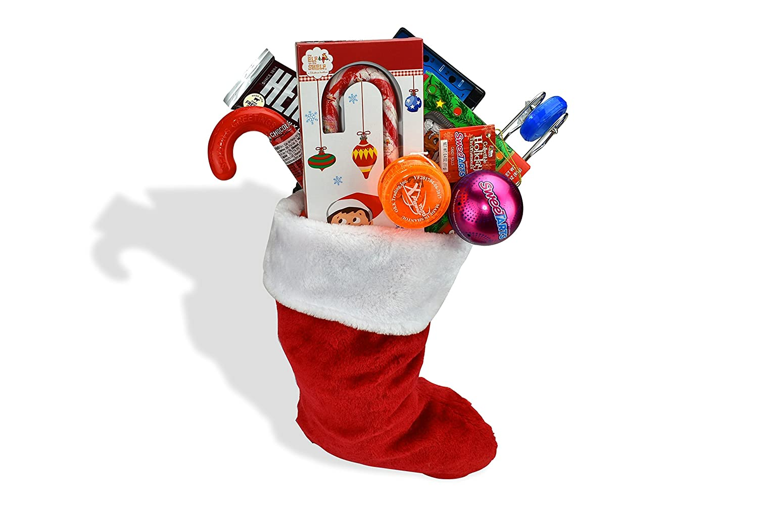 Traditional Holiday Childrens Christmas Stocking Filled With Stocking Stuffers Kids Games Hersheys Candy Sweettarts and Nerds