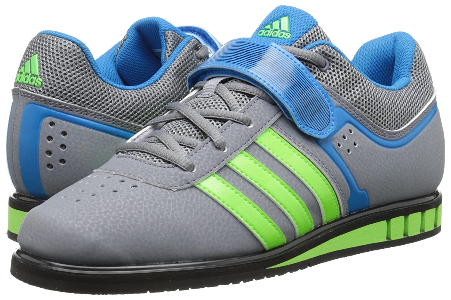 reputable site 715c8 38a29 adidas Performance Mens Powerlift.2 Trainer Shoe, GreyNeon GreenSolar  Blue, 8.5 M US Amazon.co.uk Shoes  Bags