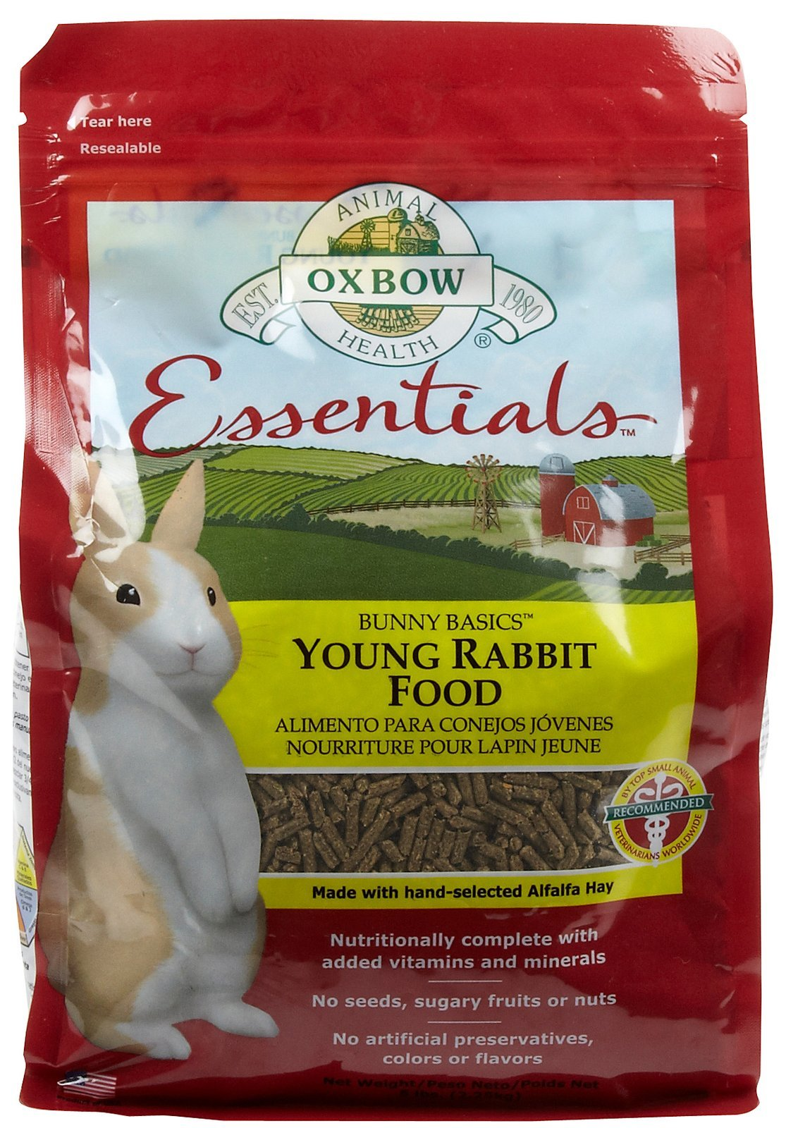 Oxbow Bunny Basics - Young Rabbit Food - Alfalfa Hay - 5 lbs
