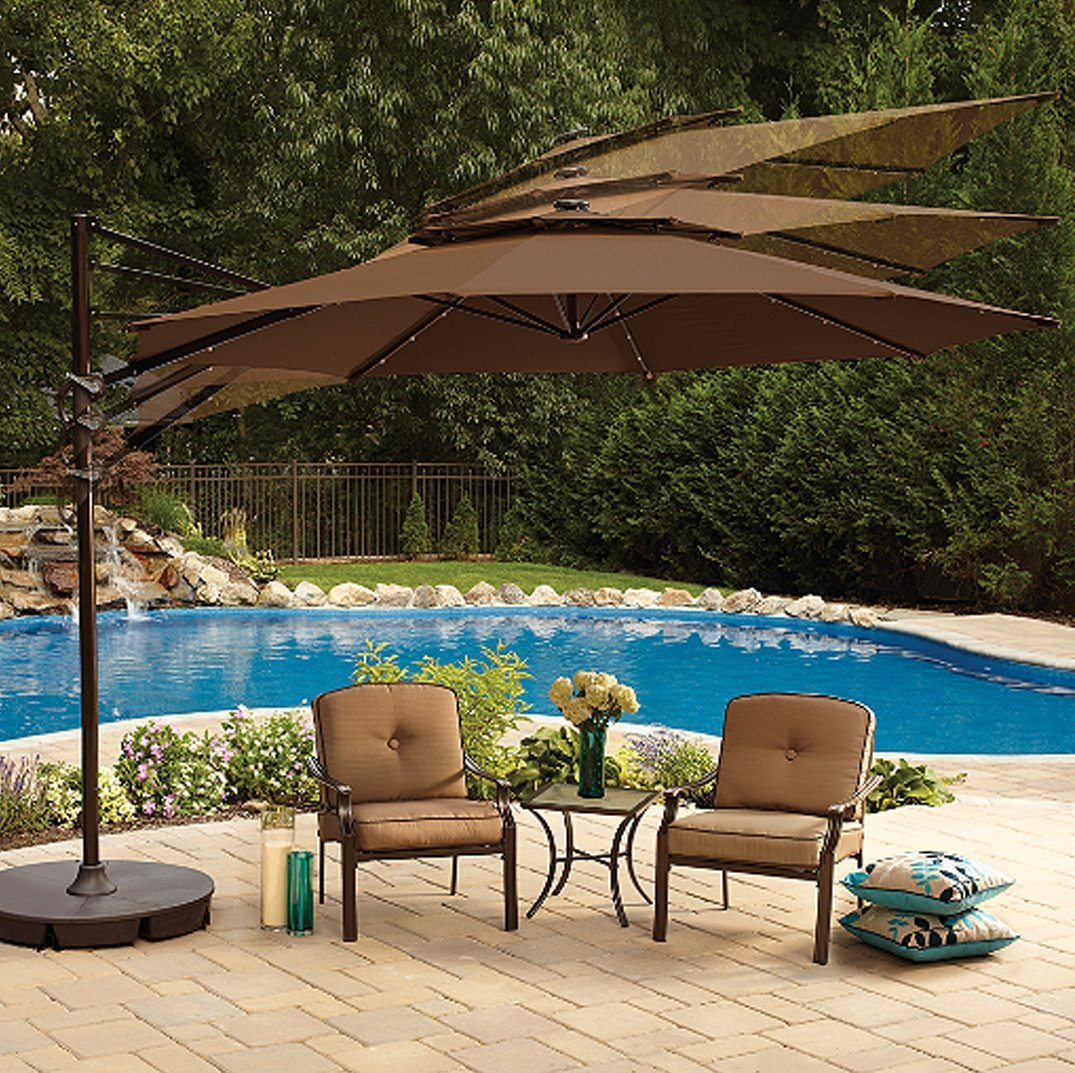 Your home improvements refference large outdoor dining tables -  Umbrella With 360 Rotation Vented Canopy An Umbrella Cover And 24 Led Lights It Also Includes The Base Dark Brown Chocolate Patio Lawn Garden