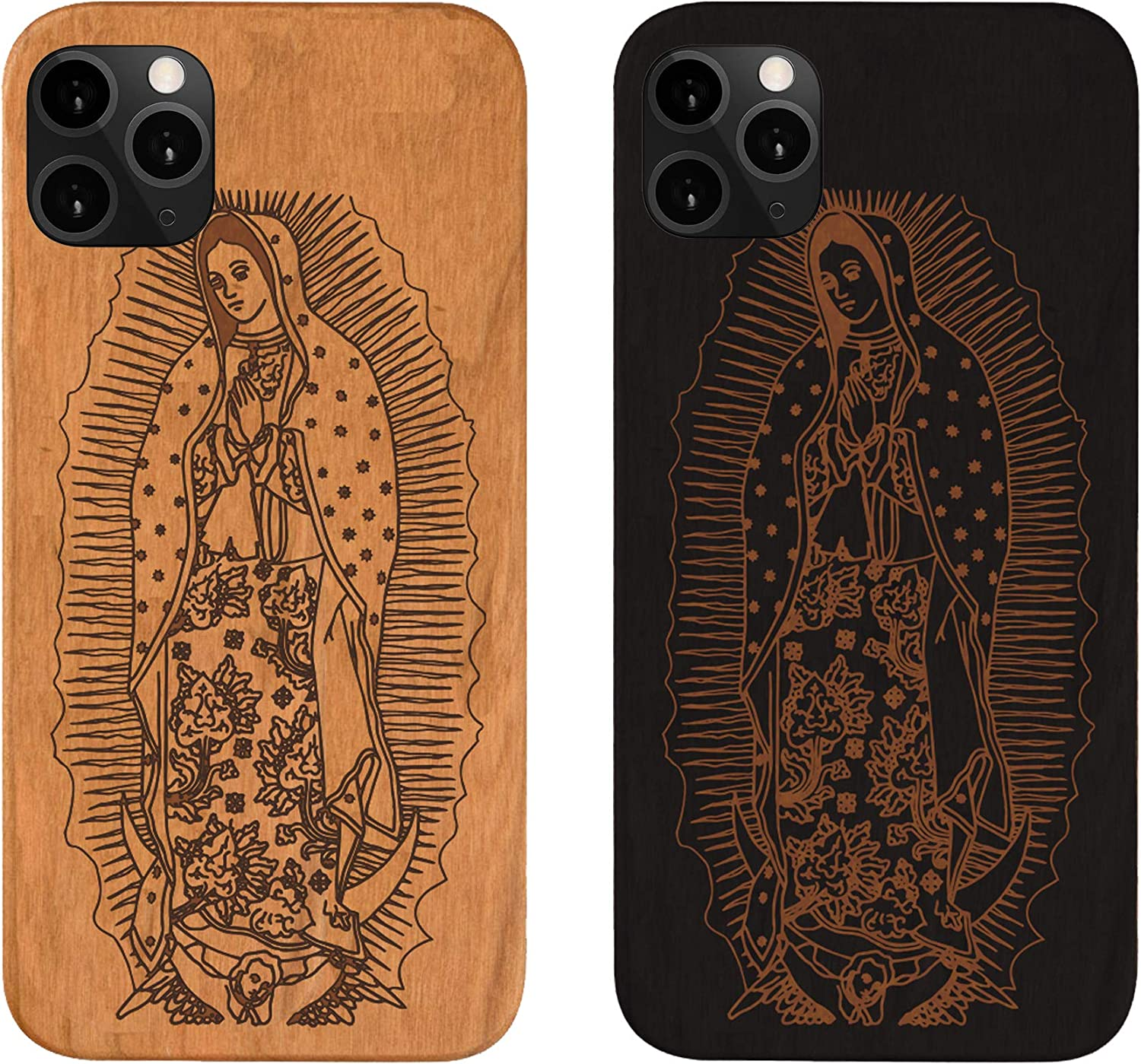 iPhone 11 Wood Phone Case, Virgin Mary Protective Case, iPhone 11 Pro Max, iPhone Xs Max, iPhone Xr,iPhone X, iPhone 6,7,8 Plus, iPhone SE2020 (Brown (Natural), iPhone 6,7,8,SE 2020)