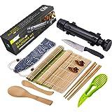Sushi Making Kit - All in One Sushi Bazooka Maker with Bamboo Mats, Bamboo Chopsticks, Avocado Slicer, Paddle,Spreader,Sushi Knife, Chopsticks Holder, Cotton Bag - DIY Sushi Roller Machine - Black