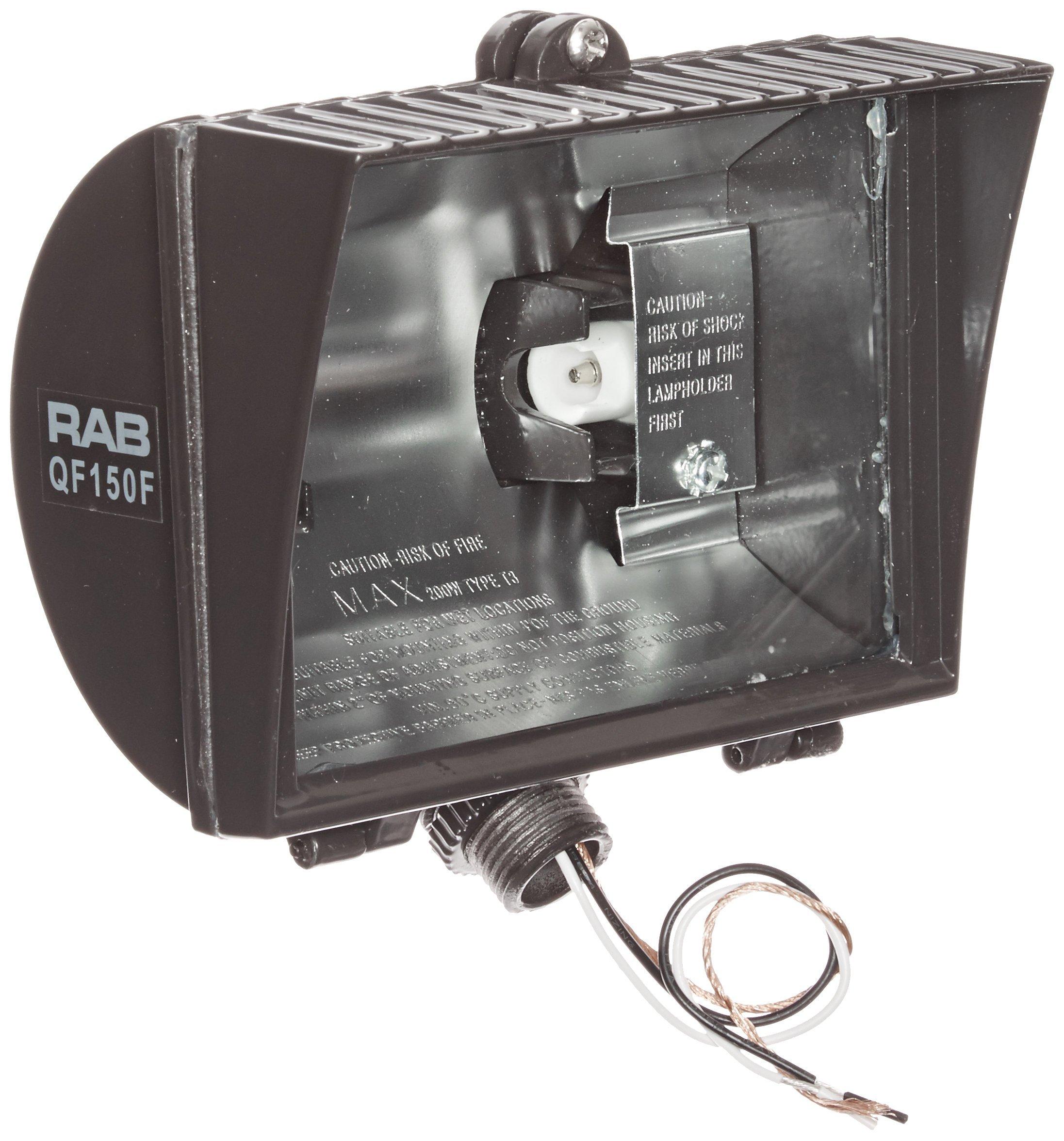 RAB Lighting QF150F Quartz Curve Floodlight, Aluminum, 150W Power, 2800 Lumens, 120V, Bronze Color