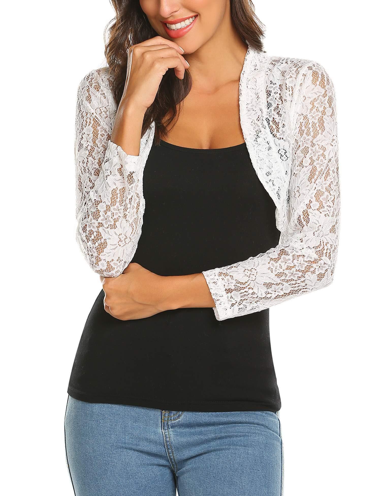 Grabsa Women's 3 4 Sleeve Lace Shrugs Bolero Cardigan Crochet Sheer Crop Jacket by Grabsa
