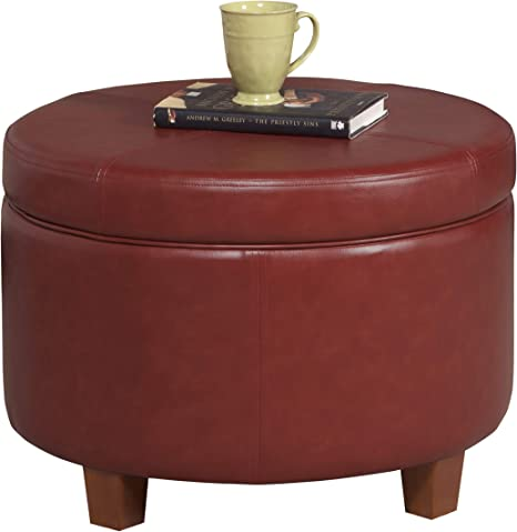 Homepop Round Leatherette Storage Ottoman With Lid Cinnamon Red Furniture Decor
