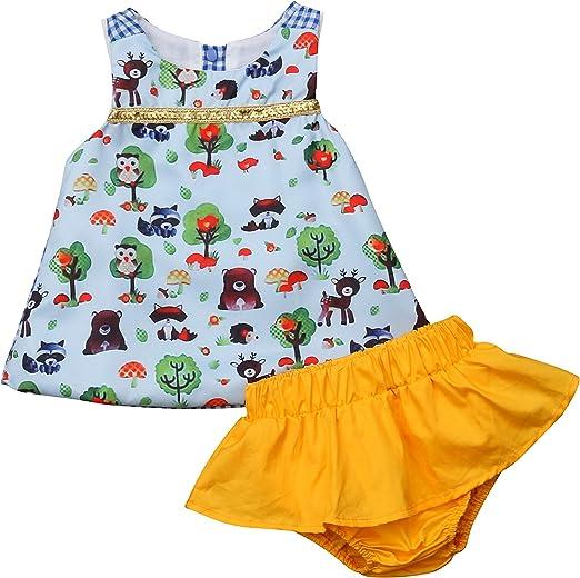 Shi Tou/_Children Toddler Kids Baby Girls Outfits Clothes Stripe Ruffles Vest T-Shirt+Shorts Set