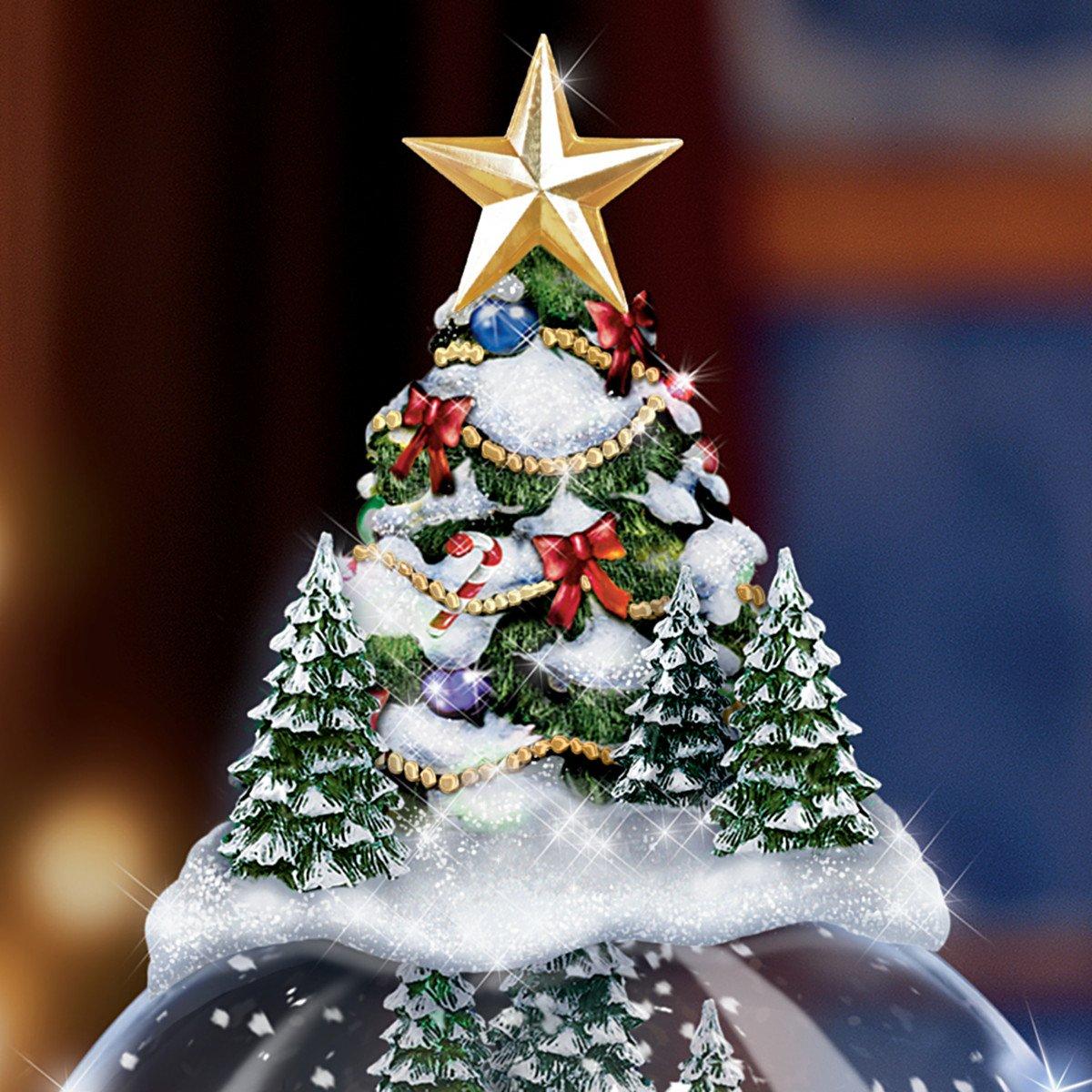 Kinkade christmas ornaments - Amazon Com Thomas Kinkade Wondrous Winter Musical Tabletop Christmas Tree With Snowglobe Lights Up By The Bradford Exchange Home Kitchen