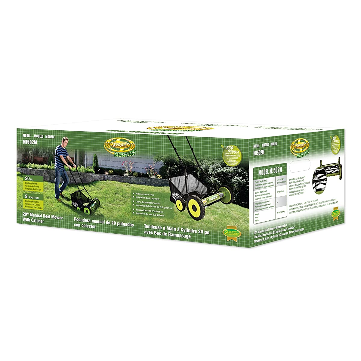 "Snow Joe MJ502M Sun Mow Joe 20"" Manual Reel Mower with Catcher, 20"", Green"