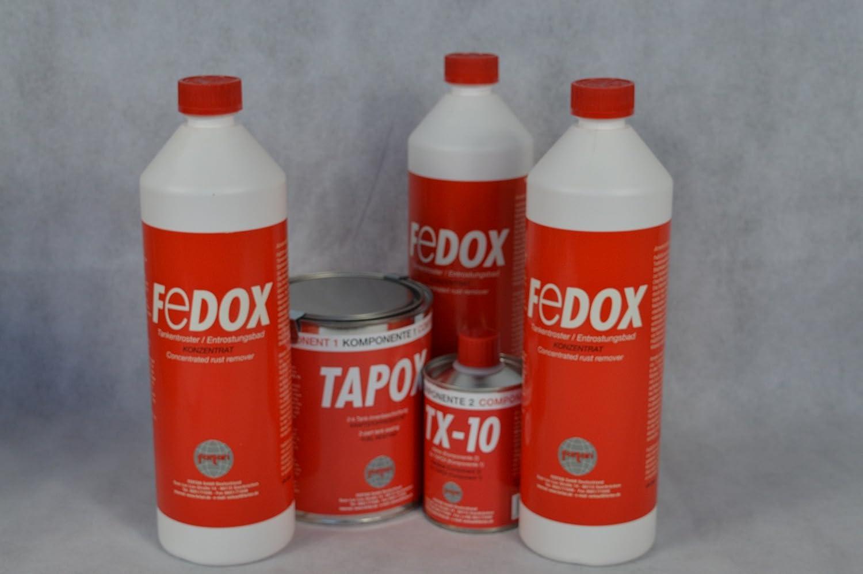 Set Fertan Tapox Tank Innenbeschichtung 3 X Fedox Tankentroster A 1 Liter Tanksanierung Auto