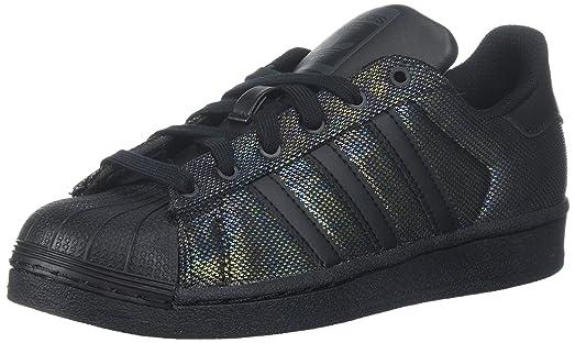 adidas Originals Boys\u0027 Superstar Black Iridescent J Sneaker, Black/Black/ Black,