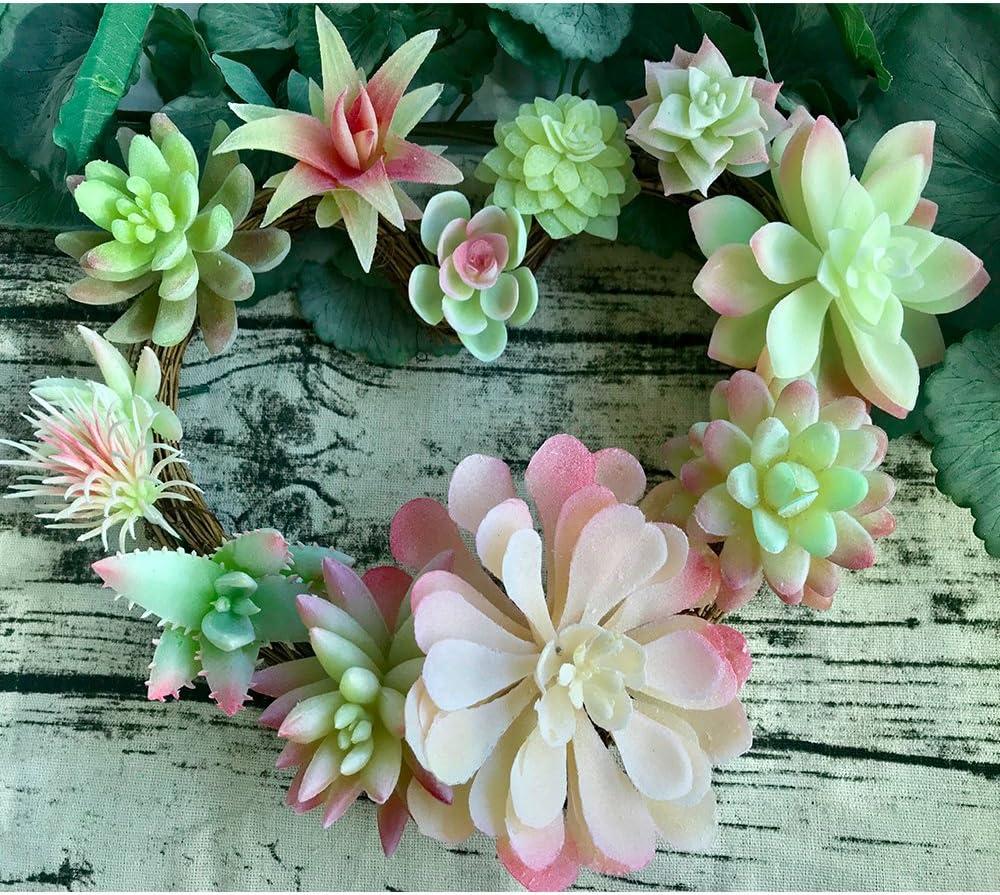 Aisamco 12 Pcs Artificielles Plantes Succulentes Pourpre Faux Fleur Succulentes Mini Echeveria Pics Tiges en Vrac pour La Maison Int/érieur F/ée Jardin D/écorations