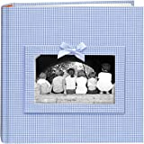 """Pioneer Photo Albums 200 Pocket Blue Gingham Fabric Frame Cover Photo Album for 4x6"""" Prints"""""""