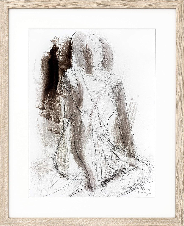 Amazon com abstract charcoal drawing original sketch housewarming gift woman artwork brown wall art handmade