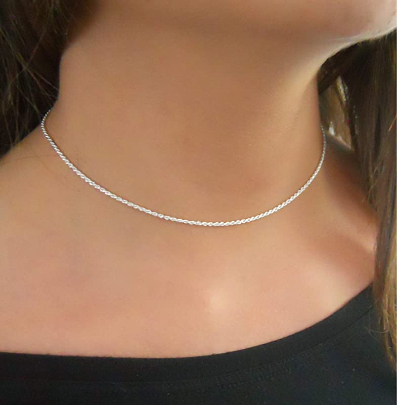 Women/'s silver colour loop ring short fitting choker necklace fashion jewellery