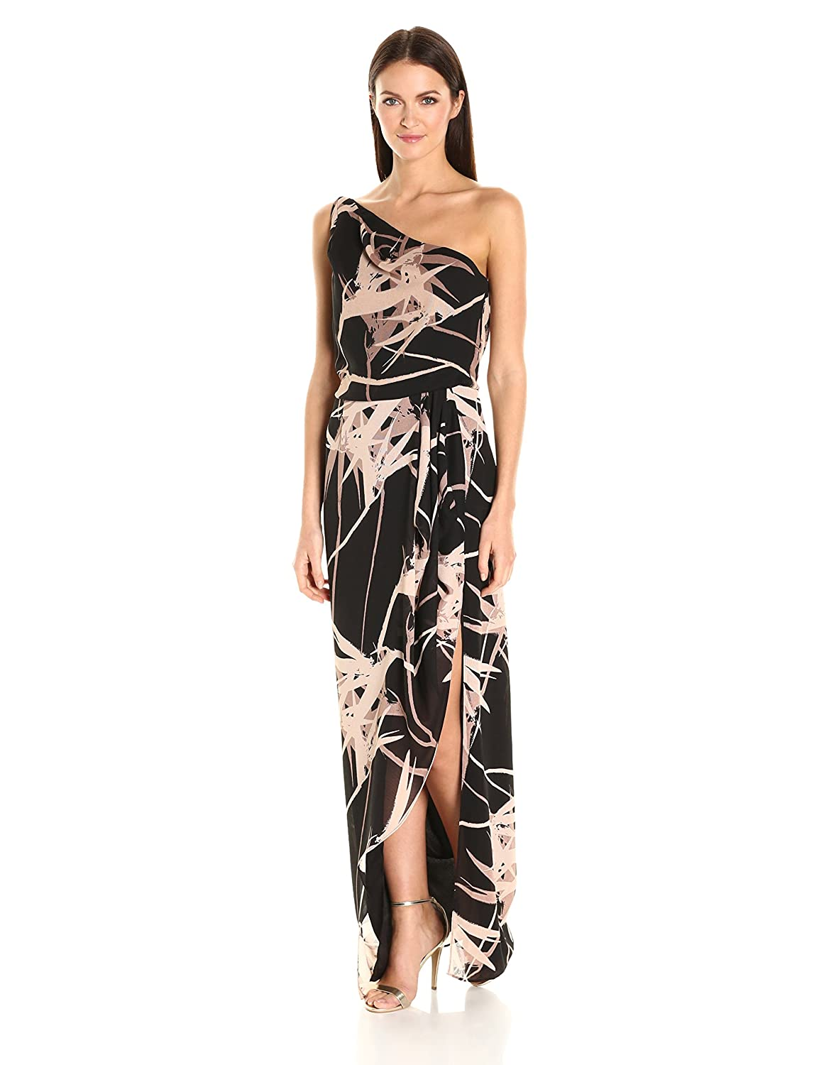 5c83e331135 Amazon.com  Halston Heritage Women s One Shoulder Printed Gown Flounce Drape   Clothing