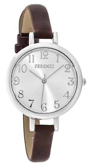 Ferenzi Mujer | Reloj de Cuero Faux de Plata de Tono de Plata Elegante | FZ15509