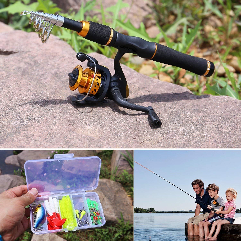 dorado de Sougayilang Ca/ña de pescar infantil con carrete giratorio agua dulce ca/ña de pesca telesc/ópica para viajes pesca de r/óbalo y trucha