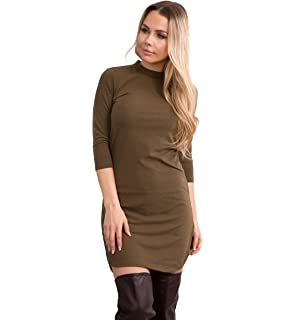 554a4c7b1004d Lusty Chic Womens Black Khaki High Round Neck Side Split Ribbed Jumper  Dress Ladies